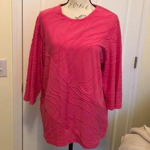 Pretty hot pink popover 3/4 sleeve top Sz XL